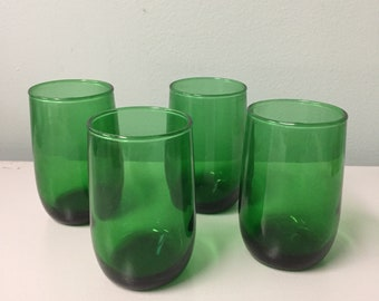 Vintage Juice Glasses -  Dark Green -  Set of 4 - Votives