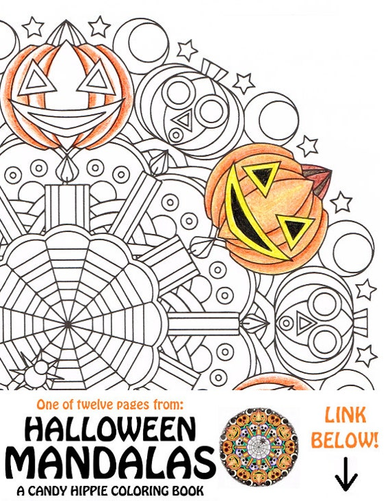 items similar to halloween mandala coloring page whacko jack o 39 printable spooky halloween. Black Bedroom Furniture Sets. Home Design Ideas