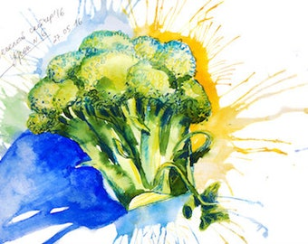 Broccoli postcard/ vegetables postcard