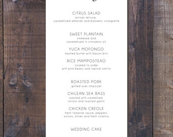 Printable Wedding Menu - Black and White Wedding Menu - Formal Wedding Menu