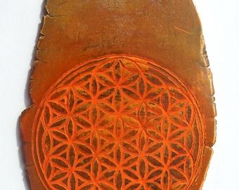 Ceramic tablet flower of life sacred geometry  engraved terra sigillata signed