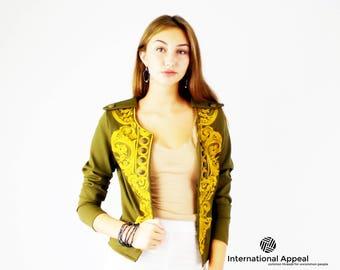 Embroidered Jacket - Gold - Olive