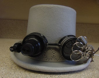 Steampunk Lighted Goggles Gray Top Hat