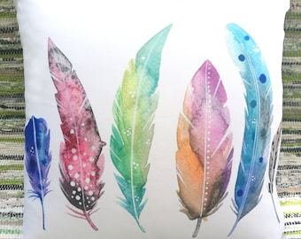 Original watercolor - Feathers cushion cover