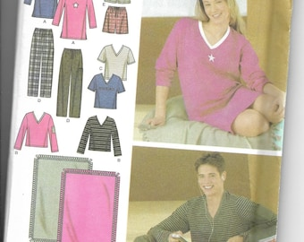 Simplicity | 4957 | Misses' Men's and Teens Pants or Shorts, Knit Nightshirt or Top and Blanket | Uncut and Factory Folded