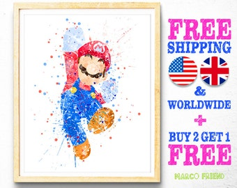 Super Mario Bros Watercolor Art Print Poster - Home Decor - Watercolor Painting - Wall Art - Kids Decor - Gifts - Illustration - 24