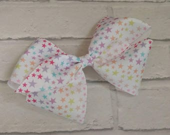 "Large 8"" Pastel Stars Boutique Hair Bow with alligator clip like JoJo Siwa Bows Dance Moms Signature Keeper Cheer"
