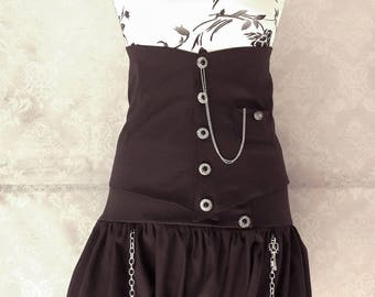 Bloomer harem shorts dark brown underbust steampunk Victorian futuristic silver key chain Pocket Watch Silver button
