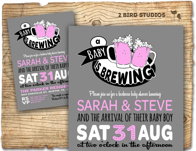 BaBy Q Beer baby shower invitation BaBy Q baby shower