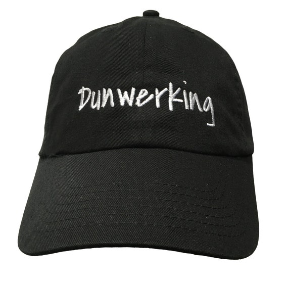 Dunwerking - Polo Style Ball Cap (Black with White Stitching)