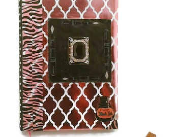 Pink Zebra writing Journal-100 Lined pages- Pink and black- gift for girls- gift for women- girly-diary-gift for writers- Journaling