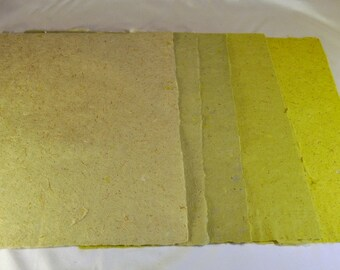 FIVE Assorted Green Colored Hand Made Paper -PM SBY #5AG8 1/2 x 11