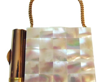 Mother Of Pearl Carryall Compact Purse Vintage 1950