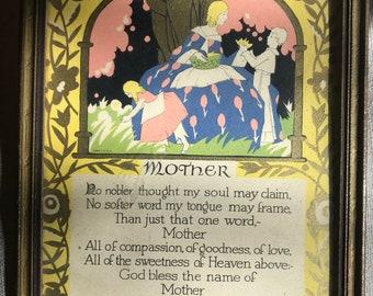 Vintage Mother Poem Sentimental Framed