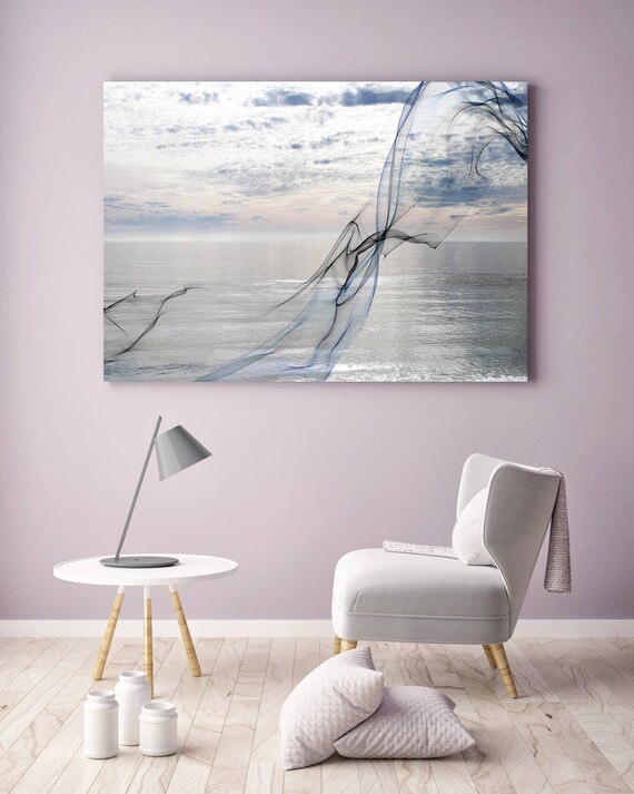 """ORL-11591 Silver ocean breeze 8. Extra Large Contemporary Blue Canvas Art Print, Seascape Abstract Canvas Art up to 80""""  by Irena Orlov"""