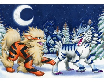 Arcanine & Garurumon (art illustration print)