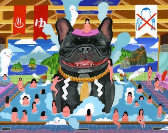 "French Bulldog Supa Sento / by Aaron Meshon / Limited edition 13""x19"" archival Giclee print"
