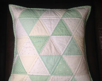 18 x18 Quilted Triangle Pillow, Mint, White and Gold
