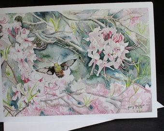 Flying Lobster and Wild Pink Azalea Greeting Card
