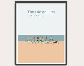 The Life Aquatic with Steve Zissou, Wes Anderson movie poster, minimalist Movie Print, film poster art.