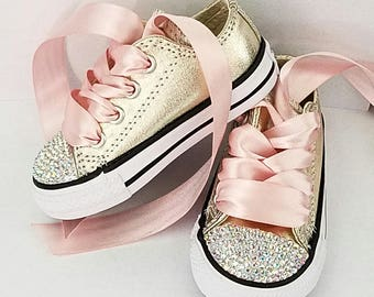 Pink and Gold Crystal Converse Toddler Baby Shoes Party Sneakers Tons of Bling Size 5 6 7 8 9 10