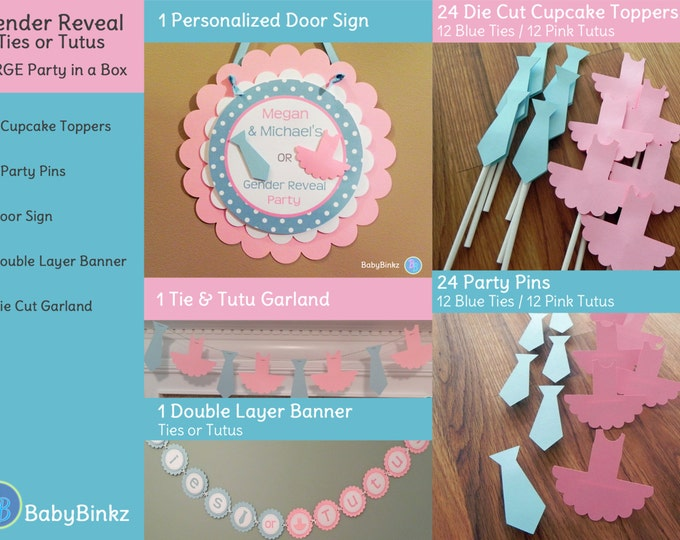 Gender Reveal Party in a Box - Ties or Tutus Party Decoration Package set die cut bow tie blue pink ballet cupcake photo prop pin game
