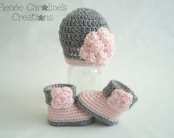 Pink and Grey Crochet Baby Girl Flower Hat and Booties - Please Select Size