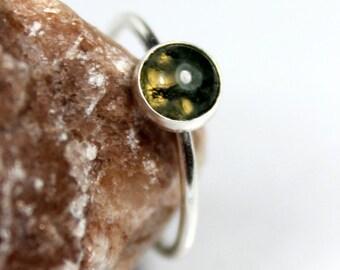 Green Moss Agate Gemstone Ring, Sterling Silver Ring, Stacking Stackable Ring, Statement Ring, Semi Precious Gemstone, Cabochon, Green Gem