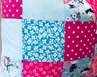 """China doll patchwork pillow pink silver blue 20""""x20"""""""