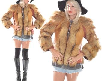 VTG 40s WWII Red Fox Shaggy Hippie Boho Festival Cape Coat Jacket Blazer
