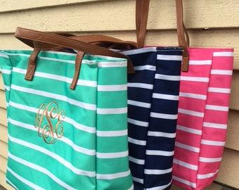 Monogram Tote - Monogram Tote bag - Stripe Tote bag - Bridesmaid gift - Personalized Tote Bag - Monogrammed  tote