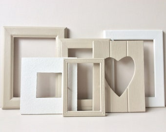 Gallery Wall Frames - Annie Sloan, Country Grey, Old White, Gallery Wall Frame Set, Old Frames, Gallery Wall, Recycled Frames.
