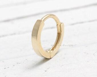 14K Solid Gold Modern Small Huggie Hinged Hoop Helix, Tragus, Cartilage Ear Piercing-20g/ 1pcs