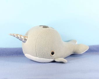 Custom Narwhal Plush, Whale Plush Toy, Cute Kawaii Unicorn, Marine Mammal Plushies, Ocean Sea life Kids room decor, Fish Toys, Ocean Theme