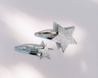 Silver Stars snap clips
