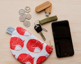 Fox print purse - half circle purse - semi circle - change coin purse - wallet - zipper pouch - coin pouch - animal print - animal purse
