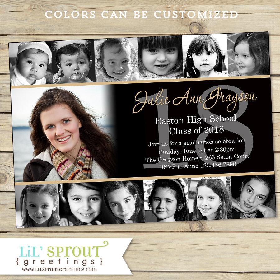 Collage Style Graduation Announcement Invitation Print Your