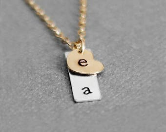 Tiny Two Initial Necklace, Two Letter Necklace, Dainty Vertical Initial Necklace, Gold Filled Heart, Sterling Silver Bar