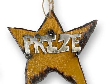Prize Metal Star Christmas Ornament Rustic Holiday