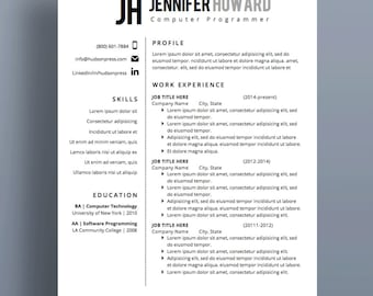 "Professional Resume Template | CV + Cover Letter | Modern Resume Design | MS Word | Instant Download (""Pico"")"