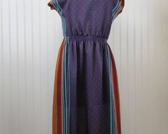 Vintage 70s Geometric Striped Boat Neck Dress Womens 6