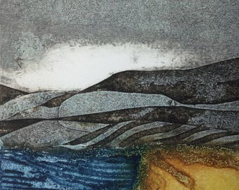 Rainstorm. Original Hand inked Collagraph bu UK Printmaker Sarah Ross-Thompson