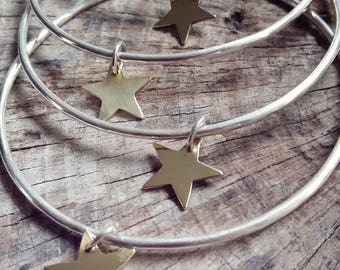 Sterling Silver Skinny Stacking Star Bangle