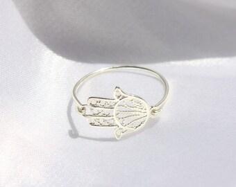 Dainty HAMSA Ring - sterling silver hamsa ring, silver sideways hamsa ring, Hand of Fatima Ring