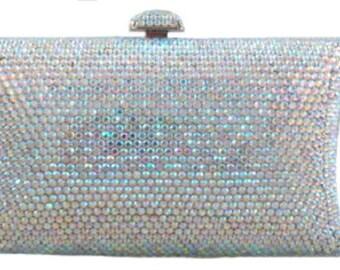 Swarovski ELEMENTS Crystal Minaudiere Silver AB Metal case rectangle box clutch Purse Pillow bag