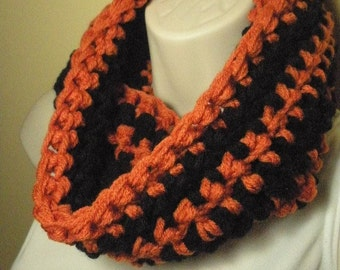 Orange and Black Halloween Cowl Infinity Circle Scarf Neckwarmer