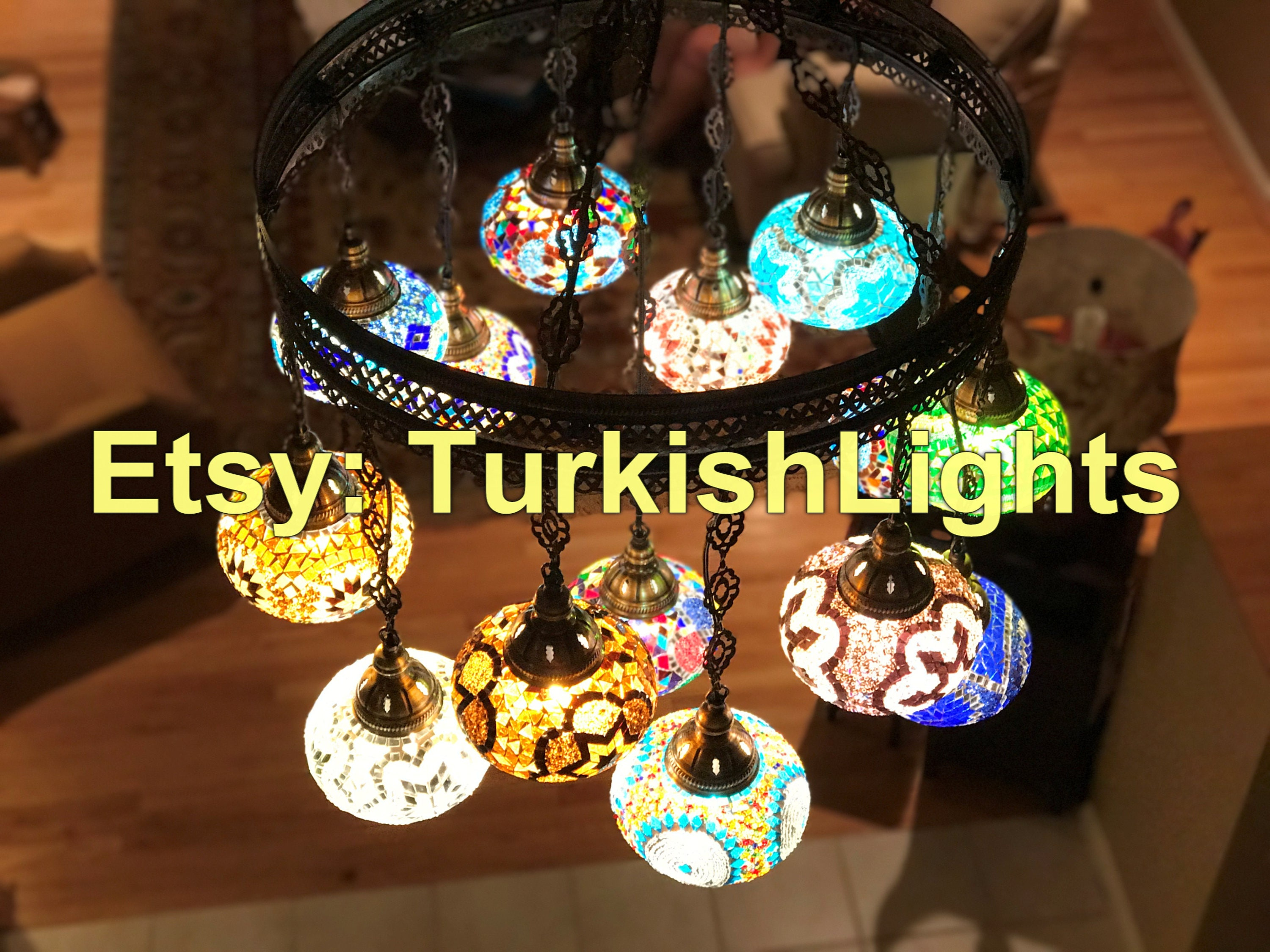 15 Ball Turkish SULTAN Mosaic Chandelier LARGE GLOBES