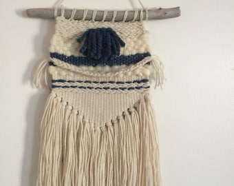Navy Blue and Off-White Rustic Hand Woven Wall Hanging