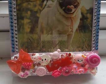 SALE! Pink Photo Frame with Blue and Sliver Rhinestones and Cabochons