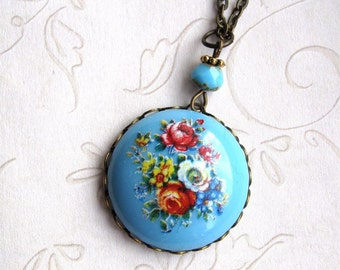 Blue flower necklace, floral pendant, turquoise blue, womens gift, nature jewelry, vintage style, gift box